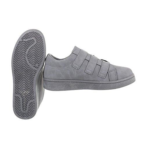 Ital-design Chaussures Femme Baskets Plat Sneaker Low Gris