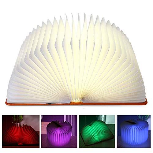 2-licht-wand-tasche (Aibesser Faltbare Buch Lampe LED Buchlampe Stimmungsbeleuchtung Nachttischlampe Nachtlicht Wandleuchte Schreibtischlampen PU-Leder+Papier+USB-Kabel 360° Faltbar Dekorative BuchLampen)