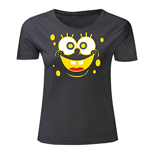 Art T-shirt, Maglietta Spongebob, Donna Nero