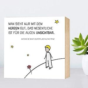 Der kleine Prinz - Holzbild 15x15x2cm zum Hinstellen/Aufhängen, echter Fotodruck mit Spruch und Illustration auf Holz - Wand-Bild Aufsteller zur Dekoration oder Geschenk