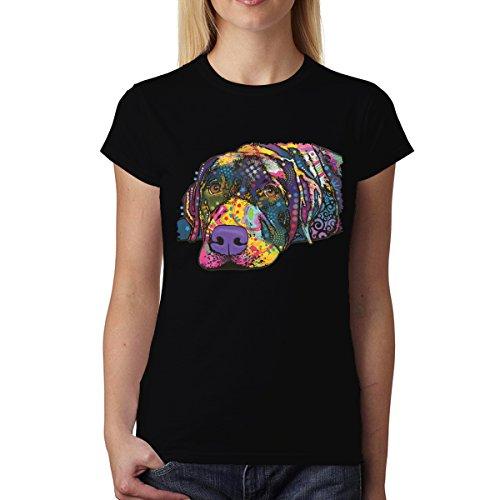 Dean Russo Hund Tiere Kubismus Damen T-shirt XS-2XL Neu Schwarz