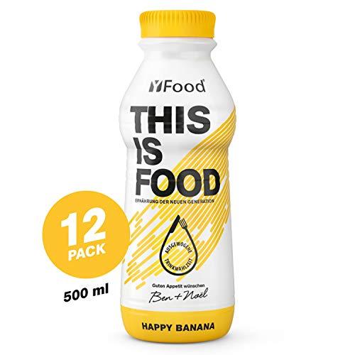 YFood Banane   Laktose und glutenfreier Nahrungsersatz   34g Protein, 26 Vitamine und Mineralstoffe   Leckere Astronautennahrung - 25% des Kalorienbedarfs   Trinkmahlzeit, 12 x 500 ml (1 kcal/ml)