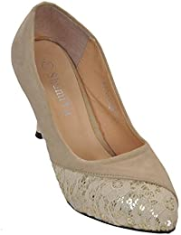 Show Stopper Beige Coloured Suede Upper Slip-on Sandal For Women