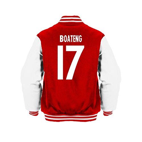 Jerome Boateng 17 Club Player Style Kids Varsity Jacket Red/White/White, Large Boys (9-11yrs)