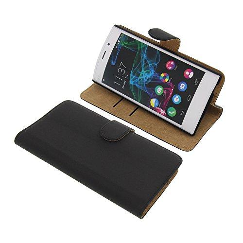 Tasche für Wiko Ridge Fab 4G Book Style schwarz Kreditkarte Schutz Hülle Buch