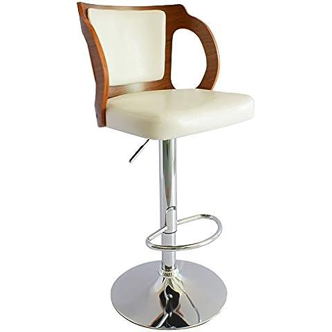 ts-ideen Sgabello da Bar Lounge Style con poggiapiedi cromato girevole a 360°. Bianco con schienale in legno di Noce