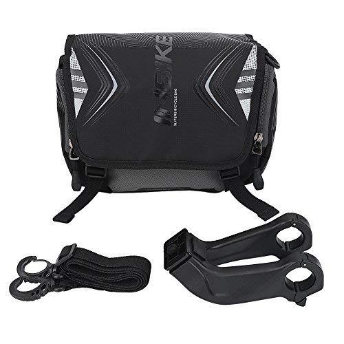 Fahrrad Lenkertasche Wasserdichte Fahrrad Fronttasche Einzelne Schultergurt Tasche mit Halterung und Regen Cover Bike Zubehör(Schwarz und Grün)