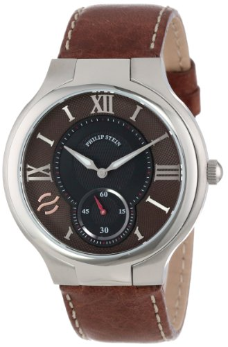 Philip Stein Men's 42-BRN-CSTDBR Round Brown Dial Dark Brown Stitched Calf Strap Watch