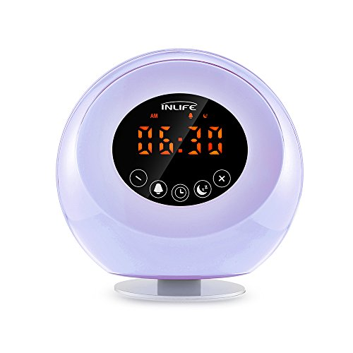 Lichtwecker InLife Radiowecker mit Licht, Wake up Light mit natürlichem Klang, Sonnenaufgang Wecker Licht, Sonnenuntergang Simulator Nachtlicht mit 7 wechselnden Farben