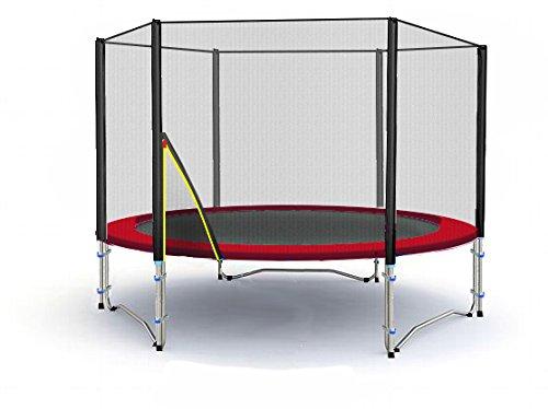 BL-T245-KS08 (RD) Garten- Trampolin 245cm, Netz UV-Resistant, Leiter, Anker & Plane