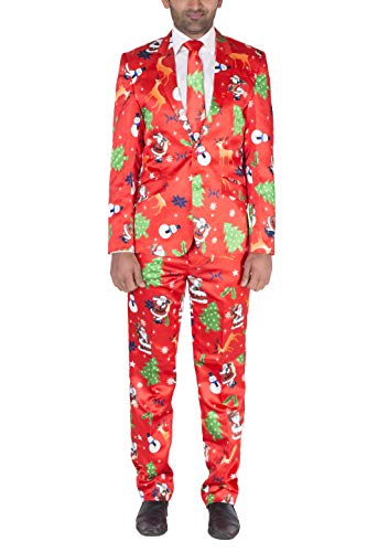 2 Rentier Mann Kostüm - Noroze Herren Prämie Neuheit Rentier Baum Outfit Kostüm Weihnachten Anzug (XL, Rot)