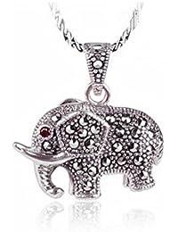 Jade Angel Thai 925 Collar de Cadena de Plata con Elefante Colgante Marcasita