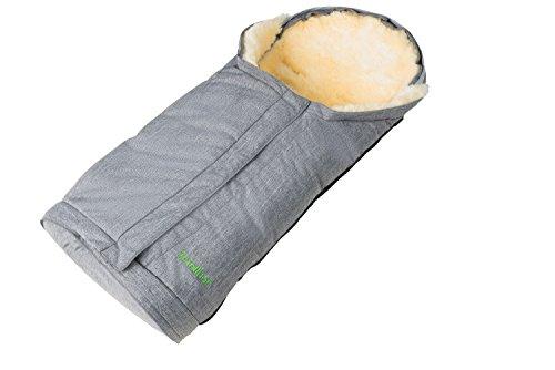 Fellhof 1087 Lammfell Fußsack Sölden, größenverstellbar, bei 30 °C waschbar, OEKO-TEX® Standard 100 zertifiziert, mit patentiertem Magnetverschluss, Rückenteil abzippbar, 40/45x82/94cm (black melange)