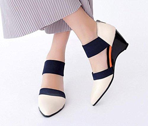 OL Pumps Hochzeit Wedge Mid Heel Elastische Gürtel Frauen Mandel geformte Zehen Knöchelriemen Elegante Schuhe EU Größe 34-39 meters white