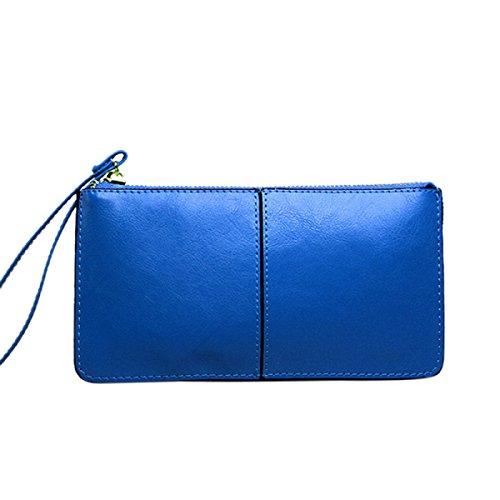 Donne Portafoglio Lungo Grande Capacità Moda Semplice Borsa A Mano Blue
