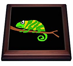 3dRose trv_200519_1 Funny Green and Yellow Chameleon Primitive Art Trivet with Ceramic Tile, 8 x 8, Brown