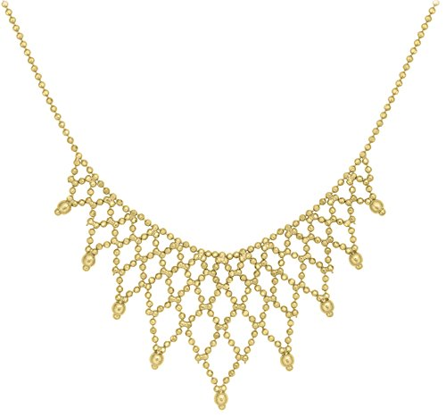 """Carissima Gold 9ct Yellow Gold Mini Ball Fringe Necklace of 43cm/17"""""""
