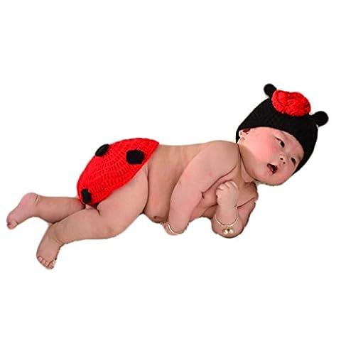 Neugeborene Kleidung Baby Mädchen Junge Häkelarbeit Strick Kostüm hundert Tage fotografieren Kleidung (Marienkäfer) 0 6 Monate (Marienkäfer-kostüm Bilder)