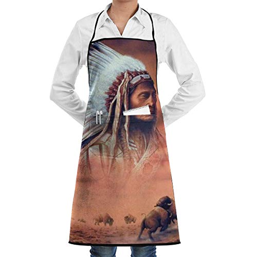Drempad Unisex Schürzen, Indian Chief and Fighting Buffalo Professional Bib Apron- Durable, String Adjustable, Machine Washable, Comfortable and Easy Care Aprons (Buffalo Rote Jeans)