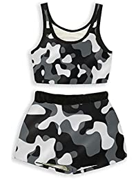 ADYK Polyster Camouflage Printed Shorts and top Combo for Women | Running Shorts | Yoga Shorts | Pyjama Set