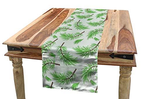 (ABAKUHAUS Blätter Tischläufer, Fallen Kiefer Branchen, Esszimmer Küche Rechteckiger Dekorativer Tischläufer, 40 x 180 cm, Lime Green Farn-Grün und Umber)