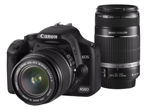 Cheapest Price for Canon EOS 450D IS Double Zoom Kit (EOS 450D Camera, EF-S 18-55mm IS f/3.5-5.6 Lens & EF-S 55-250mm IS f/4.0-5.6 lens) Special