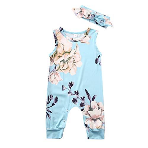 Zegeey Baby MäDchen Bekleidungssets ÄRmellos Drucken Jumpsuit Strampler Mit Stirnband Geburtstag Geschenk 2-Teiliges AnzüGe(Blau,70-80cm)