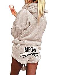 Minetom Femmes Automne Hiver Ensemble De Deux Pièces Pyjamas Chaud Corail Velours  Vêtements De Nuit Mignon cccbbfcc866