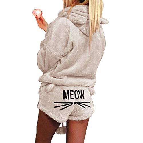 r Pyjamas Damen Mädchen Zweiteiler Ensembles de Pyjama Warm Coral Fleece Samt Nachtwäsche Süße Katze Kitty Kapuzenpullover Hoodies und Shorts Beige DE 40 ()
