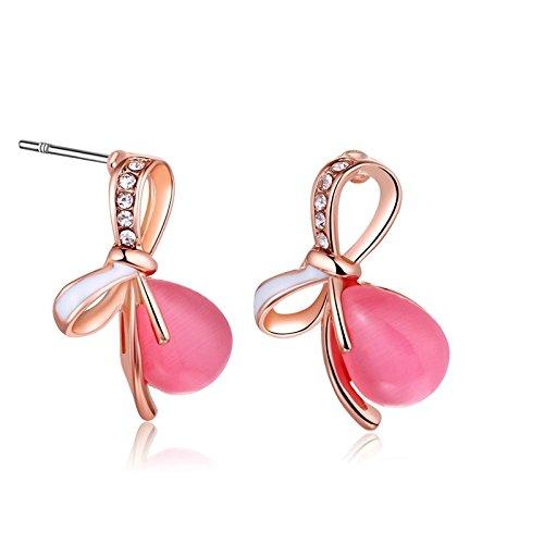 Adisaer Metalllegierung Ohrhänger Damen Ohrringe Rosa Schleife Diamant Strass Opal Durchzieher Rosegold Für Frauen Ohrschmuck Trauung (Medizinische Schleifen)