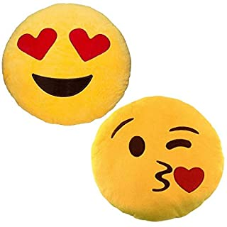 JZK 2 x Peluche farcie Coussin Emoji coup baiser + Coussin Emoji amour coeur yeux, 32cm 12