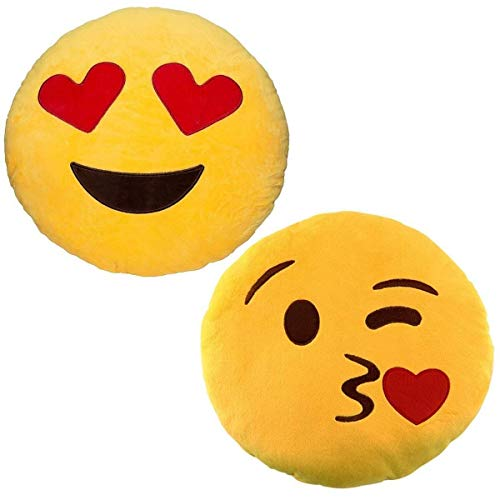Emoji - Blow Kiss Plush + Love Heart Eyes Plush - 2 Emoji cushions - 32cm 12""