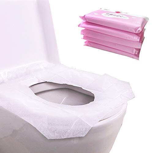 Einweg WC-Vorleger 5er Pack (50PCS) Kunststoff Aufkleber Plunger WC-Hygiene-, Reise WC-Sitz Bezug 100% wasserdicht Tours Single