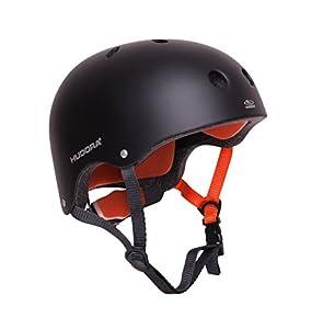 Hudora 84104 Casco de protección para Deporte Casco Abierto Skateboarding Negro, Naranja - Cascos de protección para Deportes (Casco Abierto, Construcción Robusta con calota Dura)