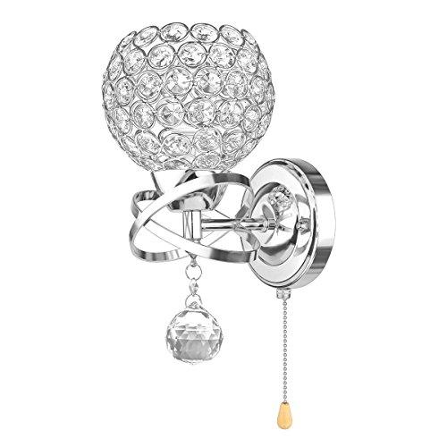 Moderne Stil Kristall Anhänger Wand Lampe ALLOMN Schlafzimmer Gang Wohnzimmer Wand Lampe Halter mit Power Pull Switch E14 Sockel Silber -