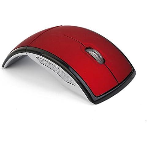 Ratón Óptico Arco Plegable Inalámbrico Portátil PC 2.4GHz USB Rojo