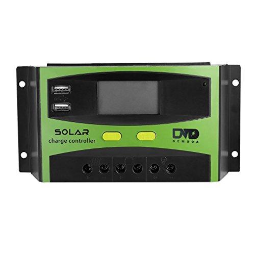 Specifications :   Material : Plastic Rated Voltage : 12V / 24V (Auto Switch) Max. Charge/Discharge Current : 30A Max. Solar Panel Input Voltage : 36V/50V Battery Over Voltage Protedtion : 16.5V/33V Float Voltage: (13V-15V)/(26-30V) Boost Charging: 1...