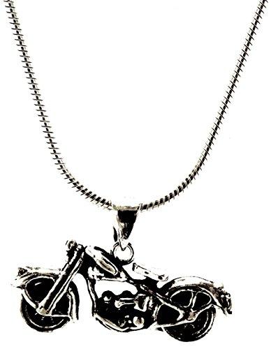 Kiss of Leather Motorrad Anhänger aus 925 Sterling Silber mit Silberkette 2 mm (55)