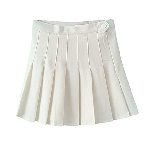 ISASSY School Skirt Girls Box Pleat Uniform Pressure Pleated skirt Slim Thin Pleated Tennis Skirts Mini Dress WHITE, UK10