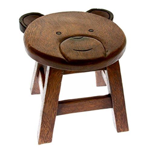 Kinderhocker/Kinderstuhl Tiere 25cm - Handarbeit - Holz - Fair Trade (Bär)
