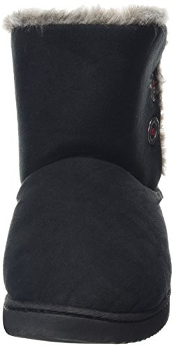 Dearfoams Two-button Boot With Memory Foam, Chaussons femme Black (Black 00001)