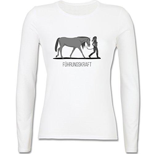 Reitsport - Führungskraft - tailliertes Longsleeve / langärmeliges T-Shirt für Damen Weiß