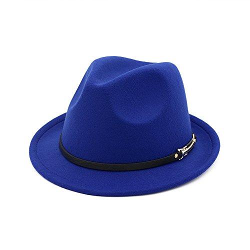 shunlidas Hüte Dekorationen Fischerhutbritish Jazz Hat Hat, Jazz Hat Curling Edge,Royal Blue,M(56-58Cm)