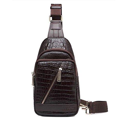 Gendi Veste en cuir véritable Vintage Sac à bandoulière Sangle Poitrine Sacs bandoulière Randonnée Sac Cool Petit sac à dos sac à bandoulière, marron