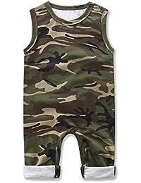 SAMBER- Bébé Romper Conjointé Vêtements de Camouflage Garçons Sans Manches Camouflage Été à Manches Courtes Justaucorps