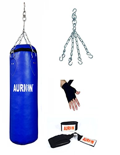 AURION Strong Synthetic leather Punching Bag 36 inch With Hand Wrap (Heavy Bag)