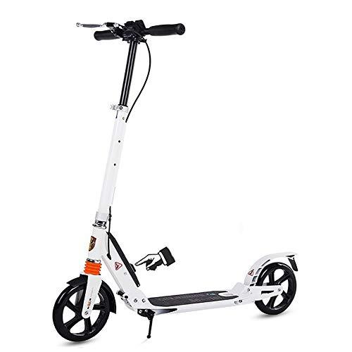 Roller- Klappbarer Tretroller für Erwachsene/Jugendliche mit Handgriffbremse, Nicht Elektrisch Höhenverstellbar, Tragkraft 150 Kg (Color : White)