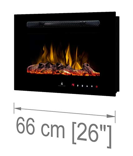 "Noble Flame Paris 660 (66 cm / 26\"") - Elektrokamin Wandkamin Kaminofen Kamin - Wandmontage Fernbedienung - 14,5 cm Einbautiefe - schwarz"