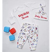 Personalised Baby Surname Nursery Baby Vest Pants and Hat Set Babygrow New Baby Gifts Newborn baby Gifts Personalised Babywear Hospital Outfit Newborn