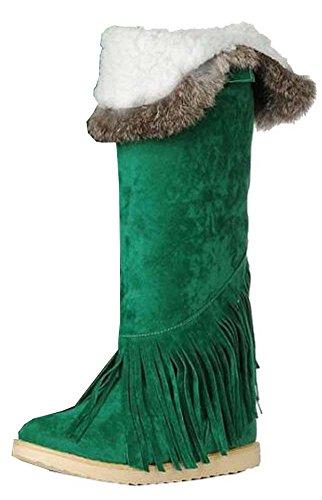 Herbst Winterstiefel Stiefel Yards der Frauen große Kaninchenfell flache Knie Stiefel Schneeschuhe Dunkel Grün
